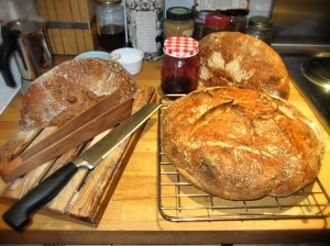 Various Sourdoughs, homemade Damson Jam, good solid bread knife, and the amazing Toast Tongs...