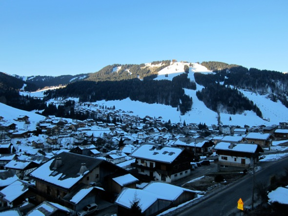 Sunrise from our balcony over-looking Morzine town and slopes beyond. Bluebird 8 days straight.