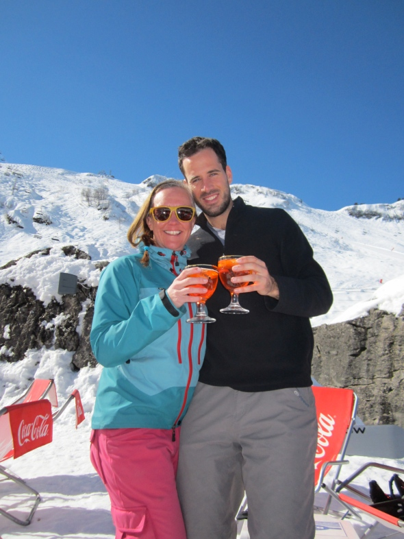Jules and Tommi enjoying Aperol Spritz in the sunshine - Chatel