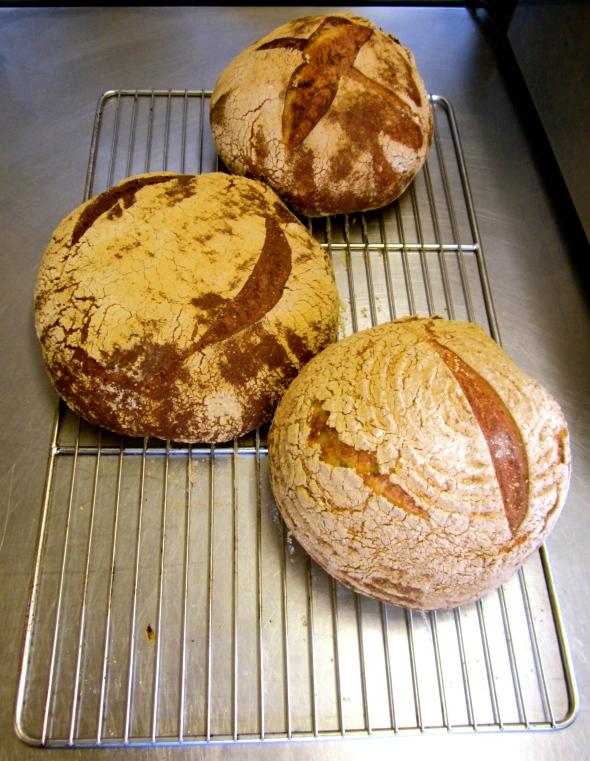 The finished product in the kitchen of Le Bec Jaune (Top to bottom - rye/white, white/spelt/rye/buckwheat and white)