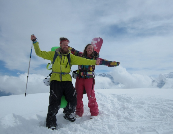 Cheesy couple photo at top of the Pointe de Chesery (courtesy of our skier friend)