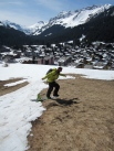 Unsuccessful one footing down the last piece of snow into Morgins village.
