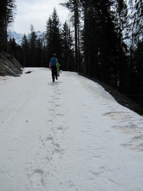Rob walking up Les Favières piste. We have done many boot packs this season, this was one of the more slushy.