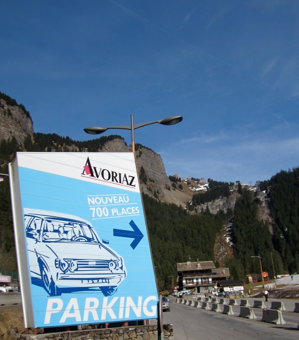 Avoriaz - Our home run and the Prodain Telecabin (and new parking places for old cars)