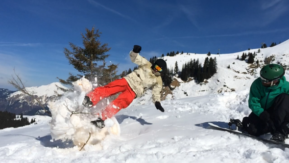 Not sure if we condone this kind of behaviour, but the photo is quite the action shot... Gav two foot ninja kick into snowman.