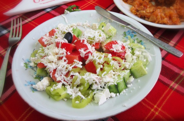 An example of shopska salad that we actually ate in Bulgaria (but you get the idea)