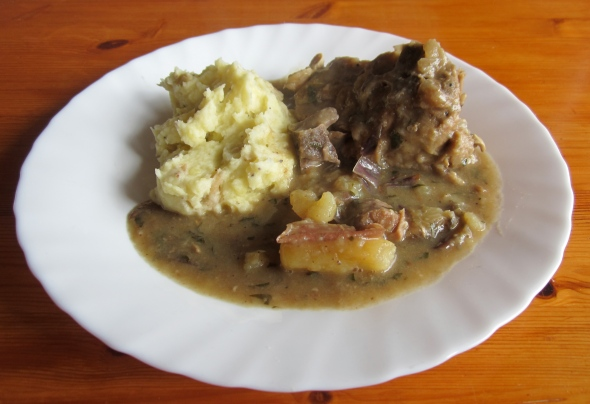 Slow cooked lamb neck - leftovers the following day served with a side of mashed potato to soak up the delicious juices