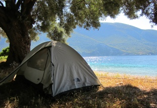 Our tent pitched under an olive tree