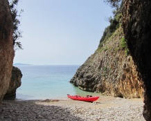 Day 3 our favourite beach of the trip only accessible by sea kayak. We had a tasty breakfast of melon and salty cheese.