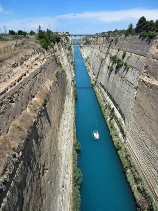 The Corinth Canal - we didn't know about this canal until we drove over the bridge and instead of staring at another creek or similar we were looking down a 90m deep man made ravine... Amazing