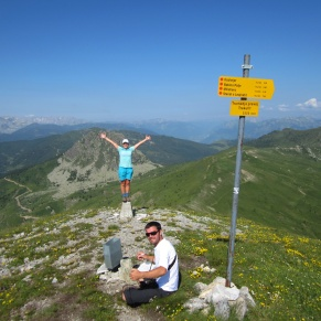 Jules, standing at the meeting point of all three Peaks of the Balkans boarders.